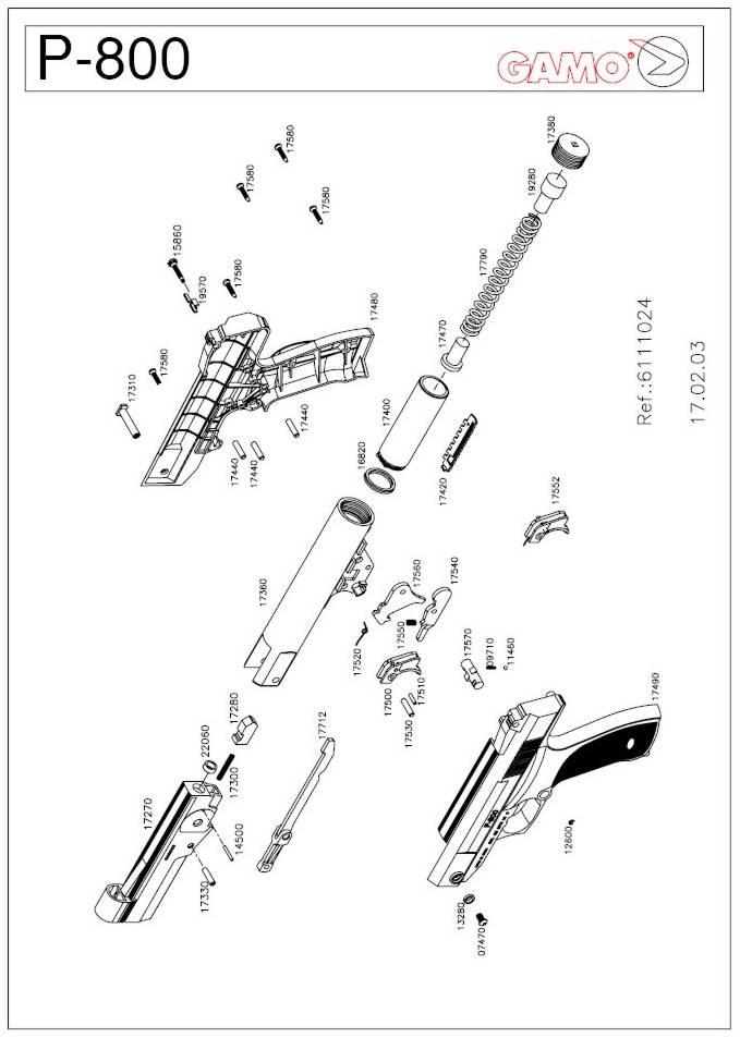 Gamo P-800 airgun parts breakdown