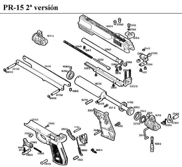 Gamo Pr-15 airgun parts breakdown.