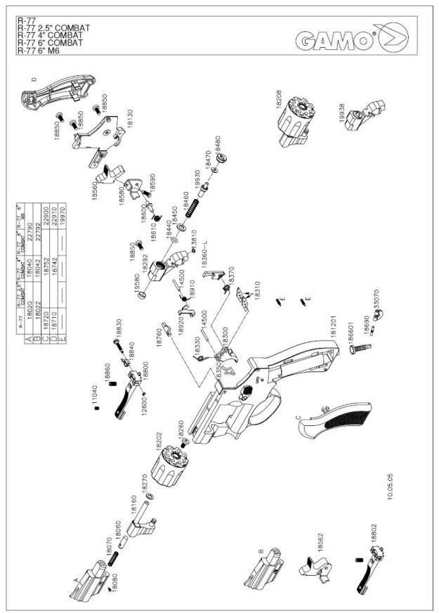 Gamo R 77 Airgun Parts Breakdown