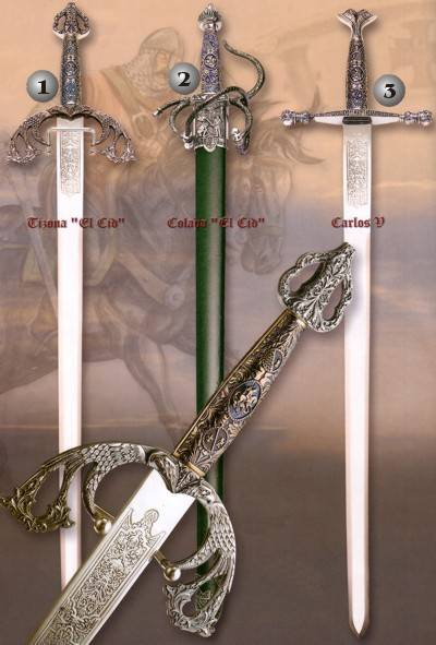 Tizona sword, Colada sword and Carlos V sword with scabbard