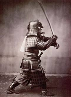 Samurai warrior with japanese sword
