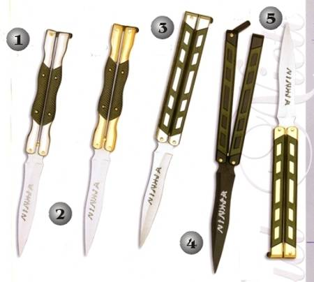 BUTTERFLY POCKET KNIFE 324-C, BUTTERFLY POCKET KNIFE 324-D, BUTTERFLY POCKET KNIFE 325-C, BUTTERFLY POCKET KNIFE 325-N AND BUTTERFLY POCKET KNIFE 325-D.