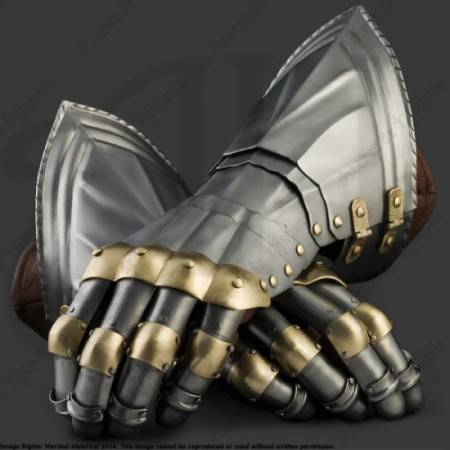 GERMAN GAUNTLETS WITH BRASS XVth CENTURY FOR MEDIEVAL RECREATION MARSHALL HISTORICAL
