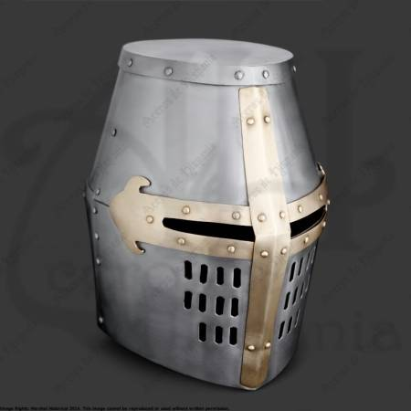 CRUSADER GREAT HELMET, BRASS
