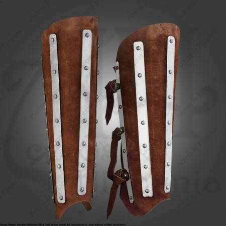 SUEDE SHINGUARDS FOR MEDIEVAL RECREATION MARSHALL HISTORICAL
