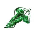 Enameled Leaf Brooch Hobbits, made of silver and green enamel.