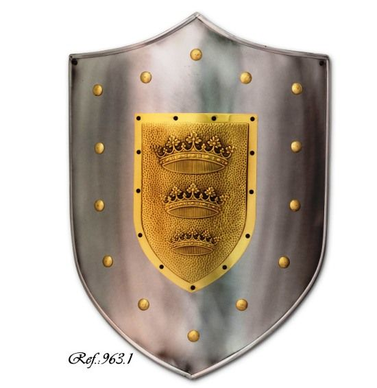 Three crown Shield, mediaeval shield of smooth steel with engraved three crown