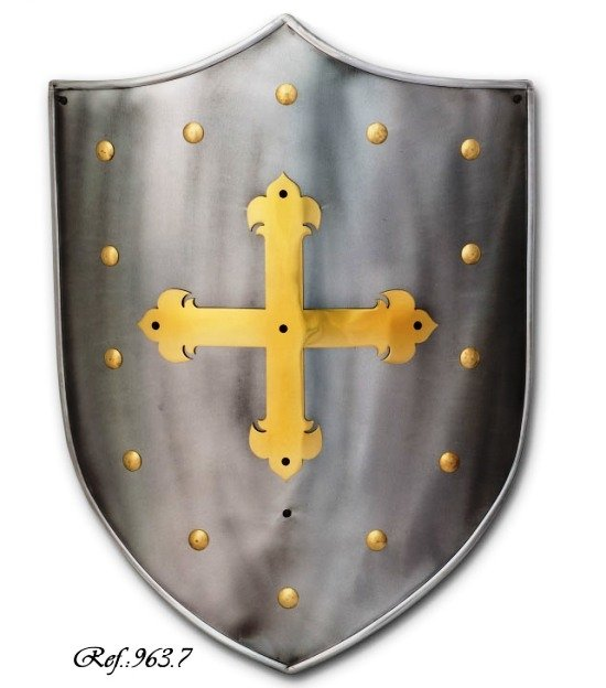 Templar Cross Shield, mediaval shield of smooth steel with engraved cross temple