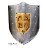 Castile and Leon Shield, mediaeval shield of smooth steel with engraved castles and lions
