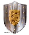 Steel shield  Lionheart Richard engraved with three lions