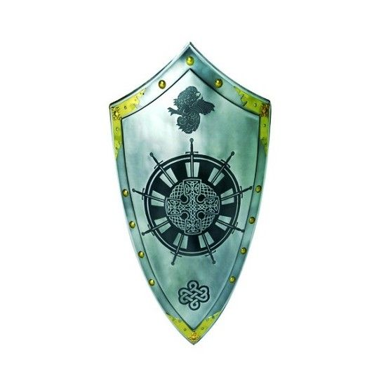 Templar Shield Table Round, medieval shield with black recordings
