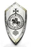 Shield Knights Templar, medieval shield with black recordings