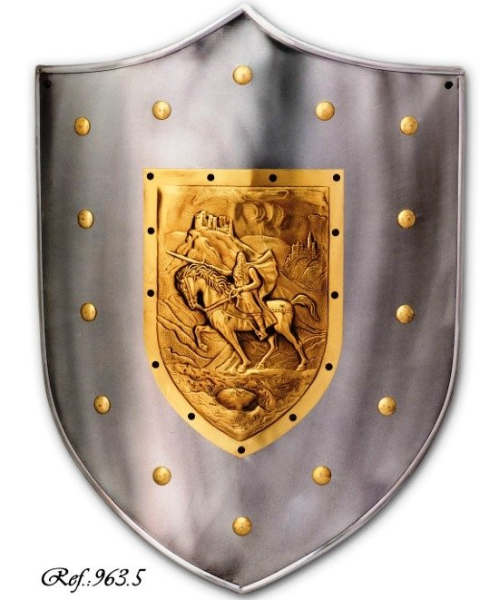 Steel shield  The Cid Campeador engraved with Sir Toledo