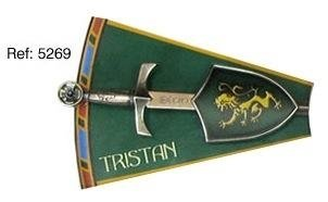Mini shield and sword Tristan, of series Knights of the Round Table