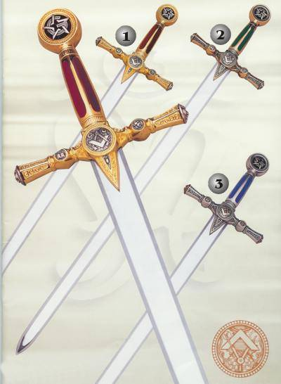 MASONIC GOLD SWORD, MASONIC BRONZE SWORD AND MASONIC SILVER SWORD