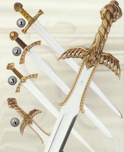 IVANHOE SWORD, LANCELOT SWORD, PRINCE VALIENT SWORD AND BARBARIAN SWORD