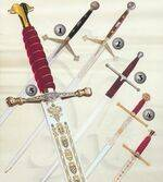 CLAYMORE SWORD, WILLIAM WALLACE SWORD, CATHOLIC KINGS SWORD AND CHARLES THE FIFTH SWORD.