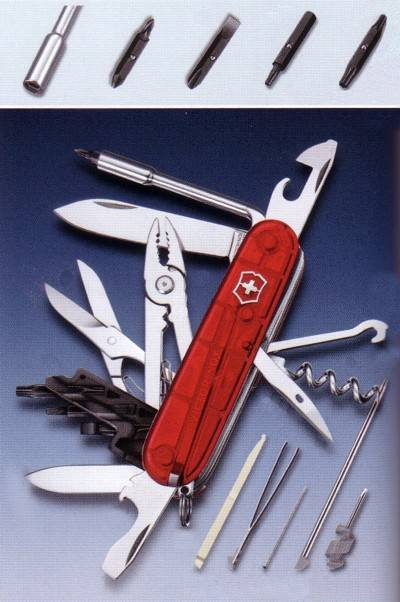 Swiss army knife with a lot of tools.