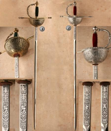 SWORDS OF CARLOS V SON OF FELIPE II
