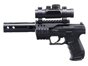 Umarex Walther Nighthawk tactical airgun with scope and sound reducer.