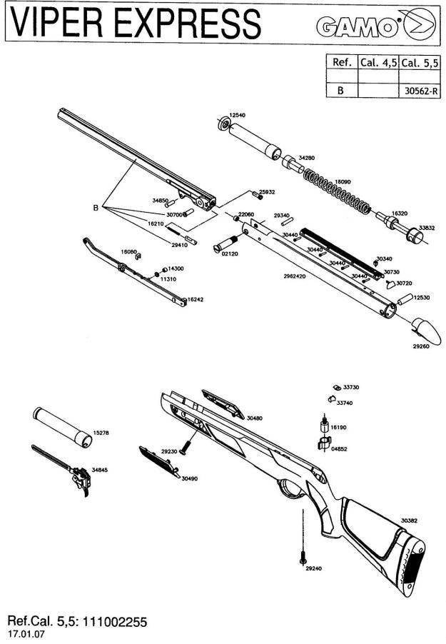 gamo viper express airgun parts breakdown