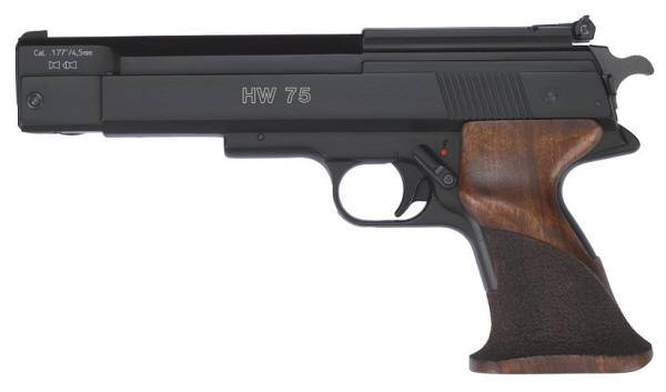 Weihrauch HW 75 air pistol with wood grip.