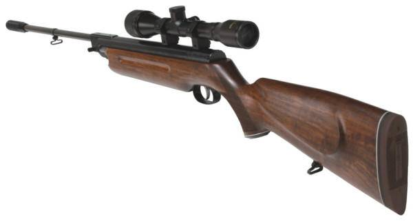 Weihrauch HW 35 E air rifle with silencer in the muzzle.