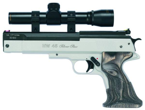 Weihrauch HW 45 Silverstar spring airgun with wood grip.