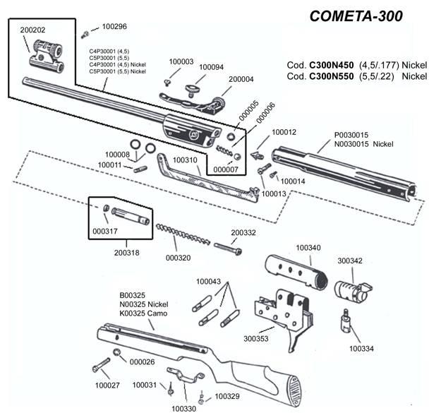 Despiece Cometa 300 acabado en Nickel