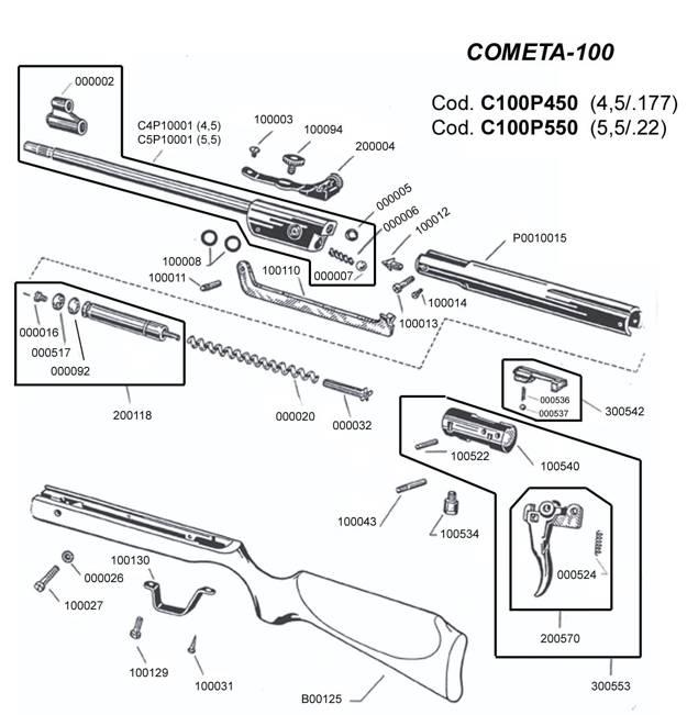 Despiece carabina 100 Cometa