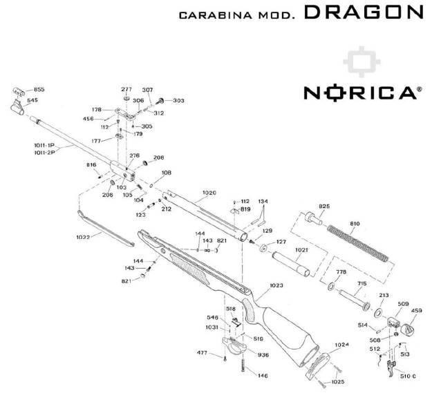 Despiece de carabina Norica Dragon. Carabinas de aire comprimido.