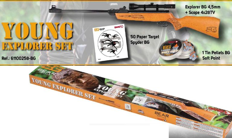Set Gamo Carabina Bear Grylls + Dianas Spyder + Balines Gamo Soft Point calibre 4,5 mm.