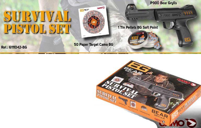 Pack de Pistola P-900 Gamo de muelle Bear Grylls + Dianas Camo BG + Balines Soft Point BG