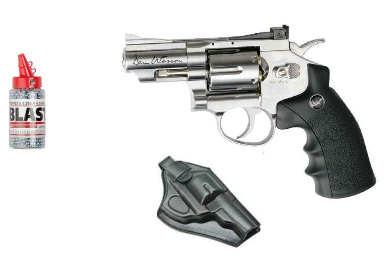 Revólver de Co2 Dan Wesson, bolas de acero BBs y funda de plástico