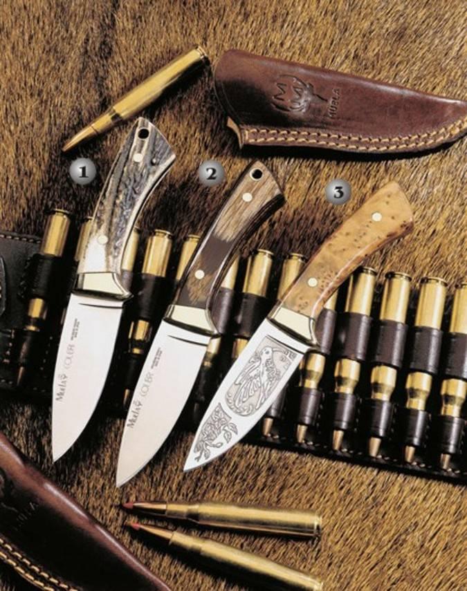 Cuchillos Muela Colibri con el mango de madera y latón
