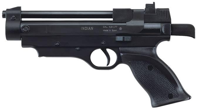 Pistola Cometa Indian Black de alta precisión con el alza regulable.