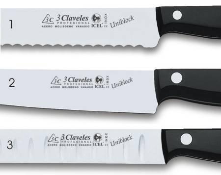 Podemos encontrar tres tipos de hojas en los cuchillos tres claveles