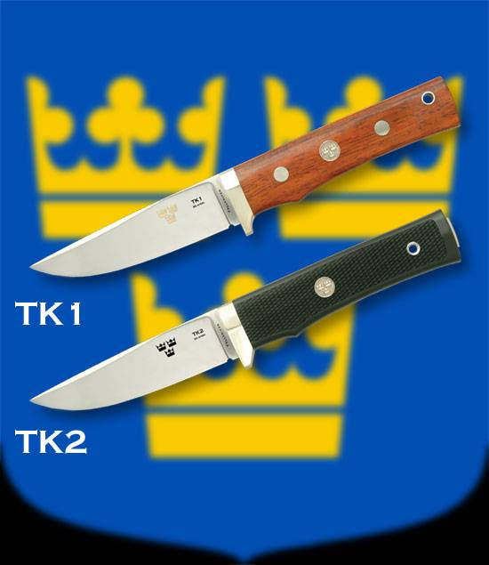 Fallkniven knives with laminated blade of three steels.