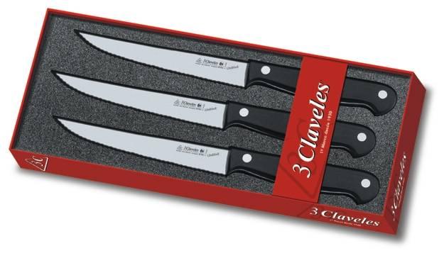 Juego de cuchillos uniblock tres claveles for Cuchillos carne mesa