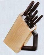 Block kitchen knives.