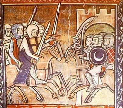 Representación medieval de las cruzadas con espadas árabes y cristianas