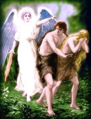 Ángel con espada flamígera expulsando a Adan y Eva
