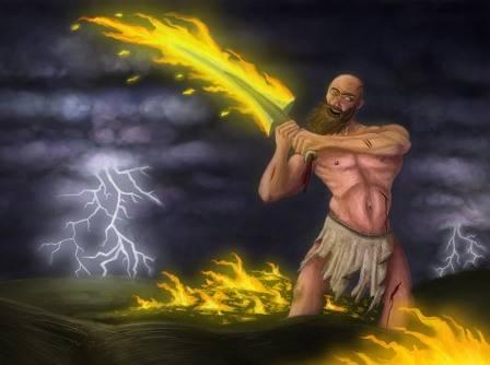 Dios Surt con espada flamígera