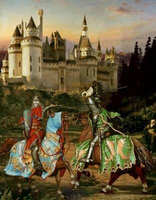 Lucha de espadas medievales entre caballeros