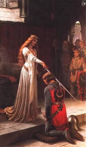 La reina Ginebra con una espada y Sir Lancelot