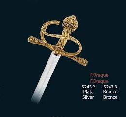 Mini espada Francis Drake el temido pirata el Draque, en acabados plata y bronce