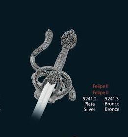 Mini espada Felipe II, en acabados plata y bronce