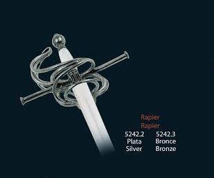 Mini espada Rapiera, en acabados plata y bronce