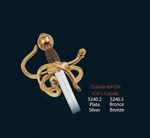 Mini espada Colada del Cid, en acabados plata y bronce