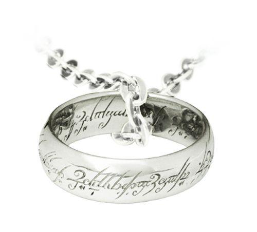 Colgante y anillo de frodo con cadena en acabado plata